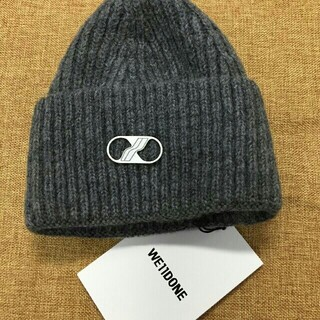 ピースマイナスワン(PEACEMINUSONE)のWE11DONE グレー ニット帽(ニット帽/ビーニー)