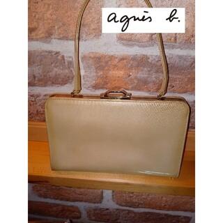 アニエスベー(agnes b.)のアニエスベーvoyage Agnes bがま口ポーチ 光沢素材 ベージュ(ポーチ)