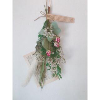 ドライフラワー 緑と白の優しいクリスマスカラーのスワッグ(ドライフラワー)