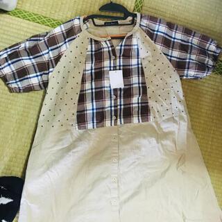 ドラッグストアーズ(drug store's)の半袖 ロングシャツ風 ワンピース 大きめサイズ(シャツ/ブラウス(半袖/袖なし))