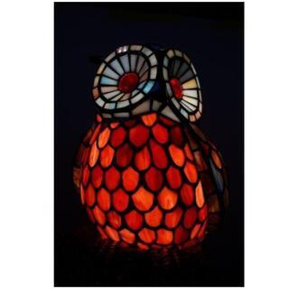新品 フクロウ ステンドグラス   卓上ランプ ナイトスタンド 照明  (ガラス)