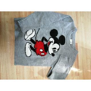 ディズニー(Disney)のミッキーマウス ニット 110㎝ グレー(ニット)
