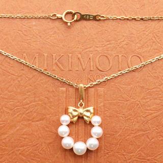 ミキモト(MIKIMOTO)のミキモト k18 リボン サークル ネックレス クリスマス リース型(ネックレス)