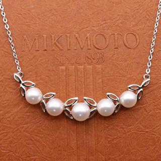 ミキモト(MIKIMOTO)のミキモト 5粒 パール  ネックレス シルバー(ネックレス)