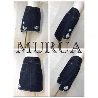 ムルーア(MURUA)のMURUA  サイズ1 インディゴブルーデニムミニスカ クラッシュ加工(ミニスカート)
