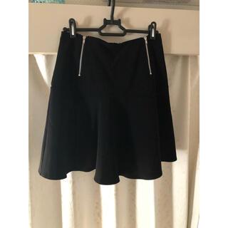 ヘザー(heather)の黒のフレアスカート 膝上(ひざ丈スカート)