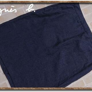 アニエスベー(agnes b.)のアニエスベー 麻100%ストライプスカート☆大きいサイズ(ひざ丈スカート)
