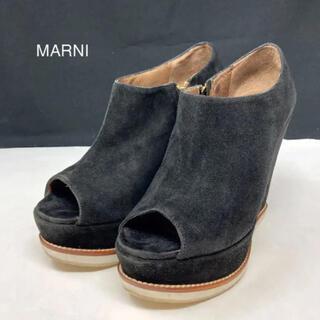マルニ(Marni)のマルニ ブーティ オープントゥ スエード ブラック(ブーティ)