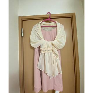 マーキュリーデュオ(MERCURYDUO)のピンク×ホワイトのキラキラリボンドレスセット(ミニドレス)