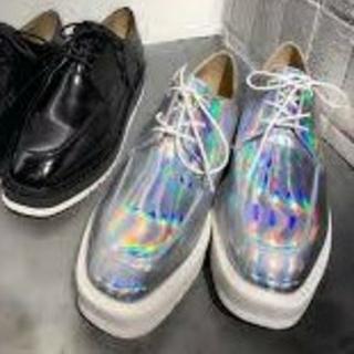 ジーナシス(JEANASIS)のジーナシス スクエアトゥマニッシュ 新品 グレー(シルバー)M(ローファー/革靴)