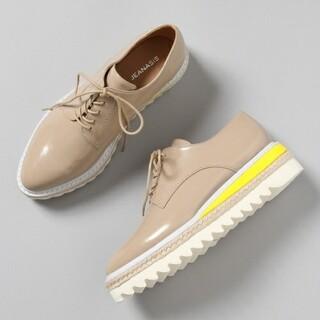 ジーナシス(JEANASIS)のジーナシス レイヤード厚底シューズ新品 ピンクベージュM(ローファー/革靴)