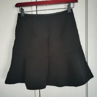イエナ(IENA)のIENA キルティング フレアスカート ブラック 38(ミニスカート)