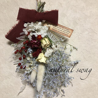 ♡No.184 white*red ドライフラワースワッグ♡(ドライフラワー)
