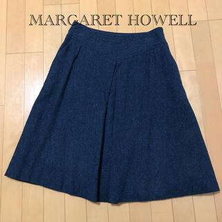 マーガレットハウエル(MARGARET HOWELL)のMARGARET HOWELLブルーツイードスカート(ひざ丈スカート)