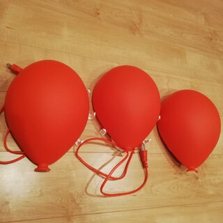 イケア(IKEA)のIKEA ウォールランプ 3個セット 赤い風船 子供部屋ライト(フロアスタンド)