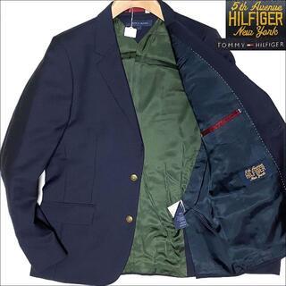 トミーヒルフィガー(TOMMY HILFIGER)のJ3129 美品 トミーヒルフィガー 胸ワッペン 金ボタン 紺ブレザー 紺ブレL(テーラードジャケット)