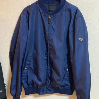 PRADA - 正規品 プラダ ナイロン ジャケット XL ネイビー ロゴ付 MA-1 ブルゾン