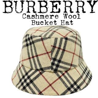 バーバリー(BURBERRY)の美品★BURBERRY★バーバリー★帽子★ノバチェック バケットハット★カシミヤ(ハット)