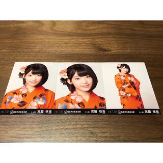 エイチケーティーフォーティーエイト(HKT48)のHKT48 宮脇咲良 指原莉乃座長公演生写真 三枚セット(アイドルグッズ)