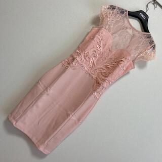 リプシー(Lipsy)の【 UK8】lipsy LONDONパールピンクドレス(ひざ丈ワンピース)