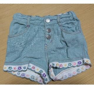 アナスイミニ(ANNA SUI mini)のANNA SUIminiアナスイミニ☆デニム風裾花テープショートパンツ90cm(パンツ/スパッツ)