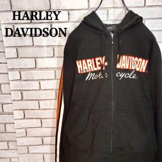 ハーレーダビッドソン(Harley Davidson)のハーレーダビッドソン ジップアップパーカー サイズL デカロゴ スウエット(パーカー)