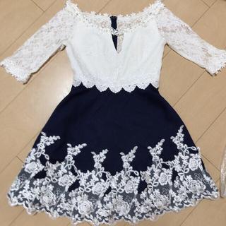 dazzy store - ネイビーレースAラインドレス