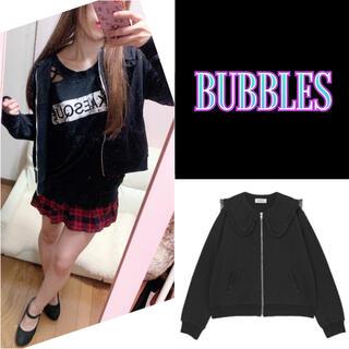 バブルス(Bubbles)のBUBBLUS セーラースウェットパーカー ブラック(パーカー)