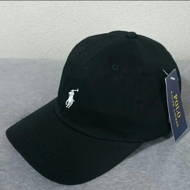 POLO RALPH LAUREN(ポロラルフローレン)の新品タグ付き ポロ・ラルフローレン 帽子 ブラック/ホワイトポニー メンズの帽子(キャップ)の商品写真