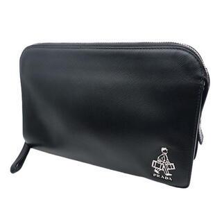 プラダ(PRADA)のプラダ クラッチ ポーターロゴ セカンドバッグ ブラック 40800059774(セカンドバッグ/クラッチバッグ)