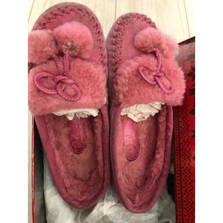 コールハーン(Cole Haan)のコールハン 子供靴 ピンク色モカシン バックスキン(ローファー)
