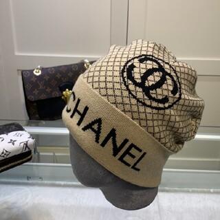 シャネル(CHANEL)のC2  ホワイトニット帽(ニット帽/ビーニー)
