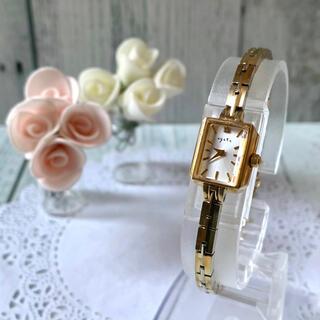 【動作OK】agete アガット 腕時計 0.02ct イエローゴールド