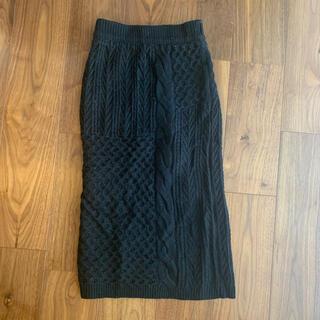 mysty woman - 美品 ニットタイトスカート ロングスカート ニットスカート ブラック