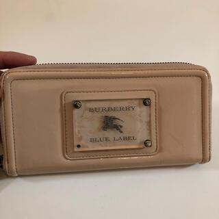 バーバリーブルーレーベル(BURBERRY BLUE LABEL)の希少品 バーバリー ブルーレーベル ピンク エナメル 長財布 ラウンドファスナー(財布)
