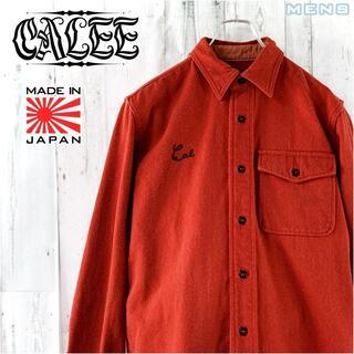 CALEE - CALEE ワンポイントロゴ刺繍ウール混ヘビーオンス長袖シャツ M ネルシャツ