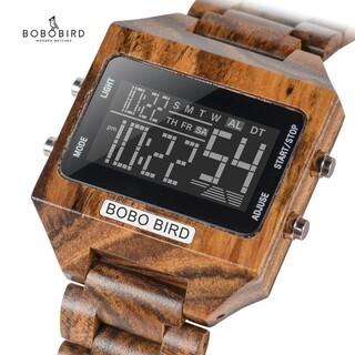 【海外直輸入・日本未発売】ボボバード メンズ 木製腕時計 デジタル LED 茶(腕時計(デジタル))