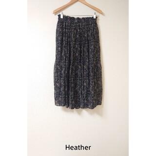 ヘザー(heather)のタグ付き新品! ツタ花柄フレアロングスカート 5,500円(ロングスカート)