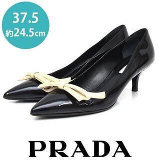 PRADA - 美品❤プラダ リボン エナメル パンプス 37.5(約24.5cm)