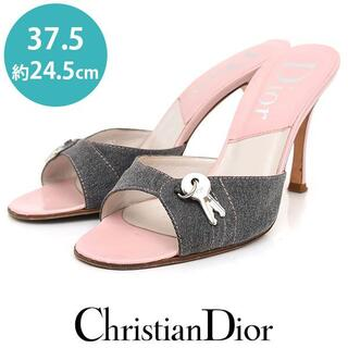 Dior - ディオール カギ カデナ デニム ミュール サンダル 37.5(約24.5cm)