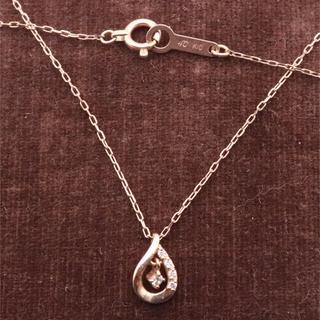 ヨンドシー(4℃)の4℃ しずく ダイヤ ネックレス k10 ピンクゴールド(ネックレス)