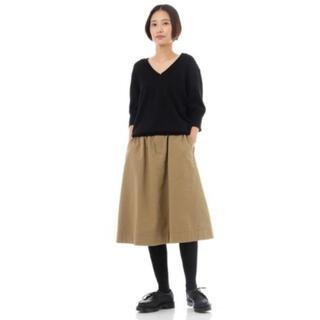 マーガレットハウエル(MARGARET HOWELL)のMHL.コットンウールキャンバスギャザースカート 2018AW(ひざ丈スカート)