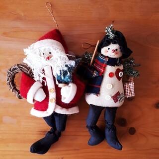 クリスマス オーナメント 飾り サンタクロースと雪だるま インテリア 人形 (インテリア雑貨)