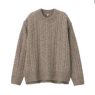 ムジルシリョウヒン(MUJI (無印良品))の無印良品      ヤク入りウール ケーブルセーター  婦人XL・モカブラウン(ニット/セーター)