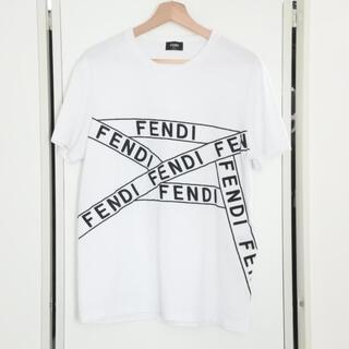 フェンディ(FENDI)のフェンディ 2019 Tシャツ FF テープ 刺繍 グラフィック ホワイト L(Tシャツ/カットソー(半袖/袖なし))