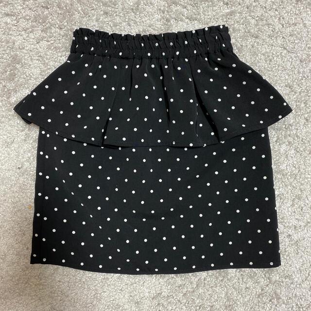 GU(ジーユー)のgukidsドット柄ペプラムタイトスカート☆130センチ キッズ/ベビー/マタニティのキッズ服女の子用(90cm~)(スカート)の商品写真