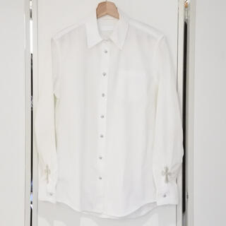 クロムハーツ(Chrome Hearts)のクロムハーツ 袖クロスパッチ 長袖 シャツ BSフレア S メンズ ホワイト(シャツ)
