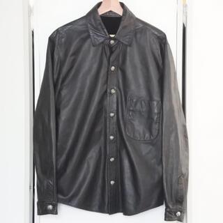 クロムハーツ(Chrome Hearts)のクロムハーツ レザー 長袖 シャツ ブラック クロスボール フレアニー 胸ポケ(シャツ)