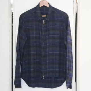 クロムハーツ(Chrome Hearts)のクロムハーツ 新型 ヘイウッド 長袖シャツ チェック ダガージップ M ネイビー(シャツ)