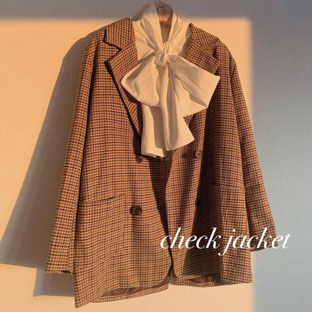 retro check tailored jacket♡Treat ürself レディースのジャケット/アウター(テーラードジャケット)の商品写真